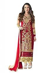 SalwarSaloon Women's Faux Georgette Dress Material (kar-red-2_Red)