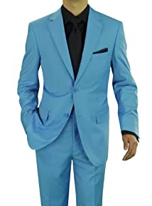 Presidential Giorgio Napoli Men's Two Button Suit Sky Blue