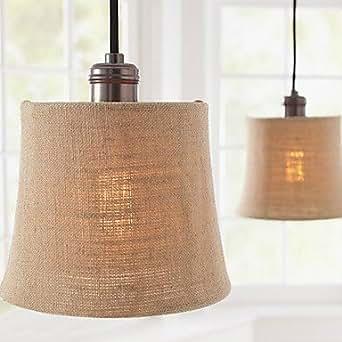 60W Modern Pendant Light With Fabric Drum Shade Lighting