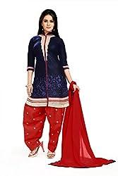 Fashion Storey Latest Designer Blue Cotton Dress-Material