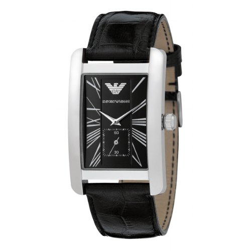 Emporio Armani Gents Black Leather Strap Wrist Watch - AR0143