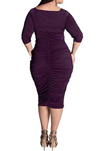 Pink Queen Womens Plus Size Deep V Neck Wrap Ruched Waisted Bodycon Dress XXXL Purple