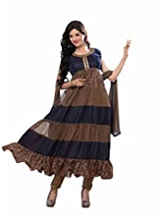 Trendz Apparels Blue And Beige Net Brasso And Velvet Anarkali Suit Salwar Suit