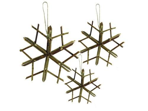3 pack twig snowflake hangings - Pack of 12