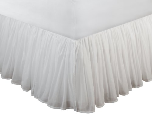 Greenland Home Cotton Voile Bedskirt, Twin, White front-979406