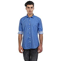 Sting Blue Solid Slim Fit Full Sleeve Cotton Casual Shirt
