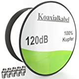 Set Sat Antennenkabel Koaxialkabel &#34;Reines Voll Kupfer&#34; 120dB Lnge 100m mit 10x SAT Stecker Grundpreis/m 0,2990 Eurovon &#34;Media-Halle?&#34;
