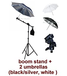 Photo Studio Portable Hot Shoe Flash Mount Umbrella Boom Stand Lighting Kit for Canon, Nikon, Panasonic, Leica, Pentac, Olympus DSLR camera