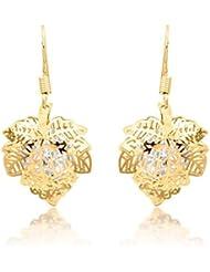 BIG Tree 18K Gold Plated Maple Leaf CZ Diamond Earring For Women.