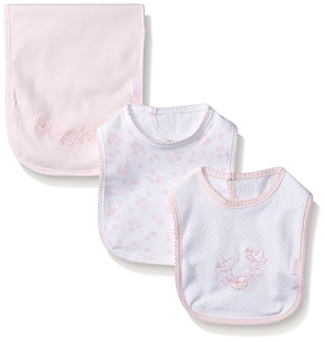 Little Me Baby Baby-Girls Sweet Lovebirds 3-Piece Bib and Burp Set, White/Pink, One Size