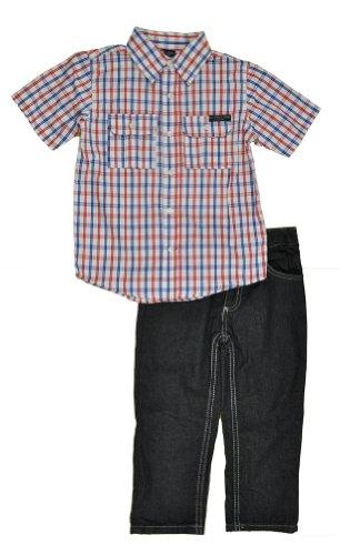 U.S. Polo Assn. Little Boys' Plaid Woven Shirt With Five Pocket Denim Short, White/Red, 3T