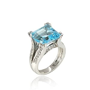 10.50 Ct Swiss Blue Topaz VS1 Gem & Natural Round Diamonds Ring 14k White Gold