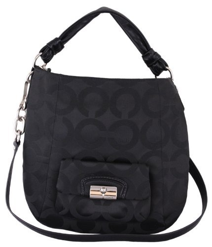 Coach   Coach Kristin Op Art Signature Outline lder Hobo Bag Purse Tote Black
