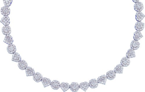 14k White Gold 7.50ct Round Diamond Fashion Necklace