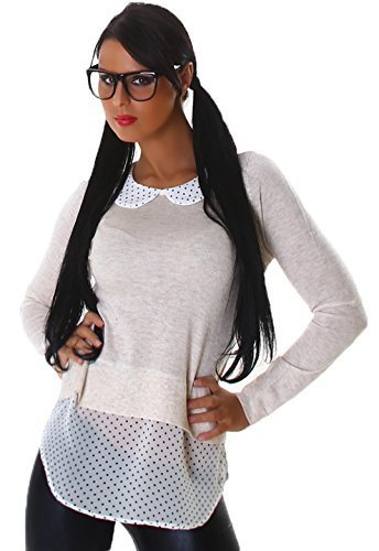 Jela London Ladies 2-in1 Pullover Sweater Jumper with Blouse Shirt Polka Dots Dots, Various Colours - Women, Beige, One size 8-10