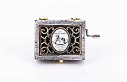 NEWBEE Antique Vintage Hollow Floral Sketch Pattern 18 Note Wooden Crank Music Box Table Desk Decoration Toy Gift for Kid Children Lover - Horse