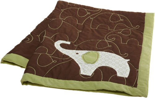 Cheap Carter's Green Elephant Quilt, Green/Choc, 36 X 45
