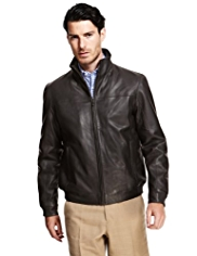 Collezione Luxury Leather Bomber Jacket