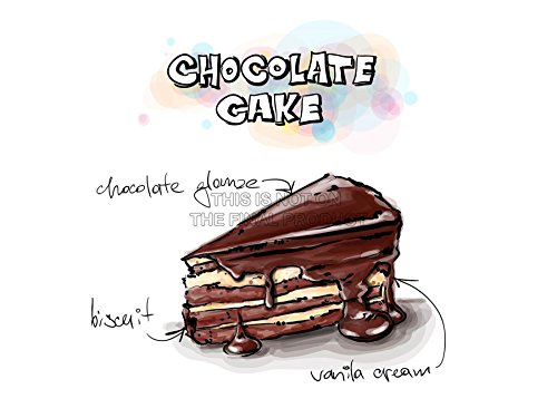 PAINTING ILLUSTRATION TASTY FOOD RECIPE CHOCOLATE CAKE ART PRINT POSTER MP5475A (Tasty Foto Art compare prices)