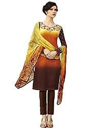 Kanchnar Orange and Brown Cambric Cotton Ethnic Festive Wear Salwar Suit