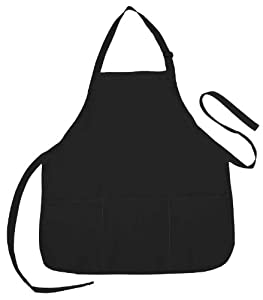 Apron Commercial Restaurant Home Bib Spun Poly Cotton Kitchen Aprons (3 Pockets)
