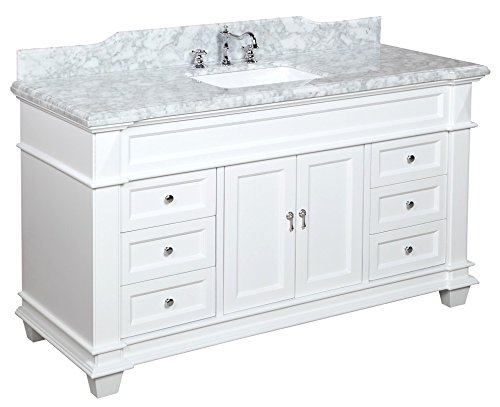 Elizabeth 60 inch single sink bathroom vanity carrara white includes authentic italian for 66 inch bathroom vanity cabinets