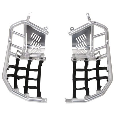 Tusk Foot Peg Nerf Bars With Heel Guards Silver With Black Webbing -Fits: Honda TRX 450ER 2012-2014 (450er Nerf Bars compare prices)