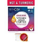 VitaCup MCT, Turmeric, and Cinnamon Genius Blend Coffee K Pods 16 Ct. Infused With Essential Vitamins B12, B9, B6, B5, B1, and D3, in Single Serve Keurig Compatible K Pods (Genius Blend)