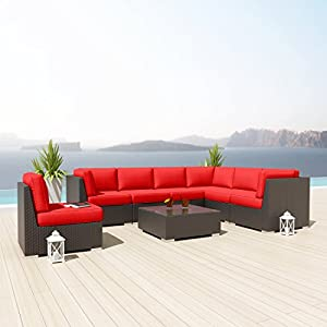 New Uduka Kahlo 8 Pcs Outdoor Red Sectional