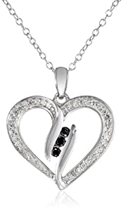 Sterling Silver Black and White Diamond Heart Pendant Necklace (1/4 cttw, I-J Color, I2-I3 Clarity), 18