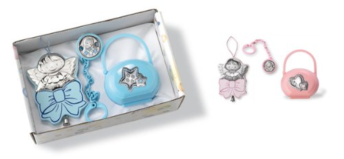 Sterling Silver Gift Set: Pacifier Case, Pacifier Clip, and Music Pendant