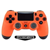 Soft Touch Orange Ps4 PRO Rapid Fire Custom Modded Controller 40 Mods for All Major Shooter Games, Auto Aim, Quick Scope, Auto Run, Sniper Breath, Jump Shot, Active Reload & More (CUH-ZCT2) (Color: Gold)