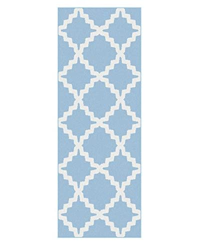 Universal Rugs Metro Indoor/Outdoor Contemporary Runner, Blue, 3' x 8'