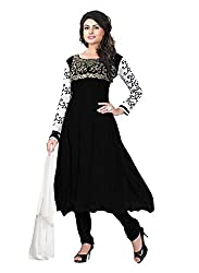 7 Colors Lifestyle Womens Georgette Anarkali Dress Material (Aobss108Fgrbt _Black _Free Size)