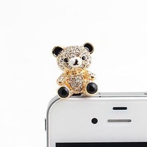 Wisedeal Lovely 3D Panda Pattern Bling Rhinestone 3.5Mm Earphone Jack/Anit Dust Plug/Cellphone Charms/Headphone Jack Plug/For Iphone 4 4S 5/Samsung Galaxy S3 S4 Note2/Ipad 2 3 4/Ipod Touch/Motorola/Htc/Blackberry With A Wisedeal Keychain Gift (White)