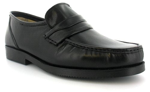 Mens/Gents Black Wide Fitting Leather Slip On Shoes - Black - UK 11
