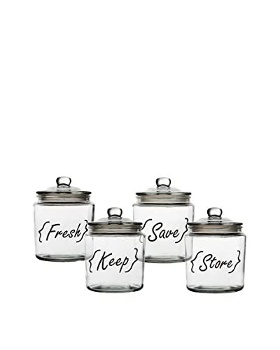 Home Essentials Set of 4 Storage Canisters, Clear