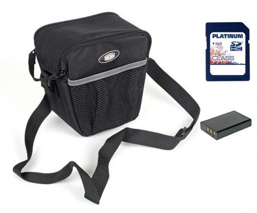 Sparset Fototasche Bilora 285-90 Colttasche schwarz + Ersatzakku DMW-BLC12E + 16GB SD Karte + Stativ für Panasonic Lumix DMC-FZ200, DMC-G5 mit14-42mm Objektiv