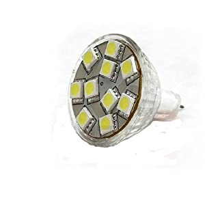 Ledwholesalers Brightest MR11 12 Volt AC DC 10 5050 SMD LED Bulb Wide Angle 160 Lumen 2.1 Watt, White, 1113WH