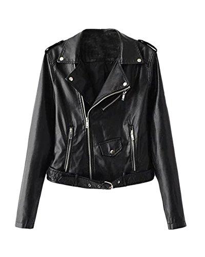 SaiDeng Donna Punk Stile Giacca Moto Corto In Pelle Pu Cappotto Cerniera Jacket Nero M