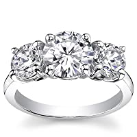2 ctw Classic Round Three Stone Diamond Ring in 14K White or Yellow Gold (D Color, I3 Clarity, 2.00 carat total, yellow or white band)