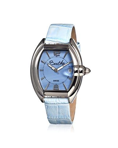 Bertha Women's Chloe Powder Blue Leather Watch