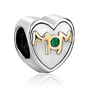 Pugster Mom Green Crystal Heart Beads Gift Fits Pandora Charm Bracelet