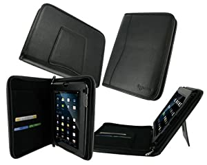 rooCASE Executive Portfolio (Black) Leather Case Cover with Landscape / Portrait View for VIZIO 8-Inch Tablet with WiFi - VTAB1008