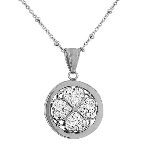 Stainless Steel Yellow Rose Gold Silver-Tone Love Heart Floral Clover White Crystals Cz Womens Pendant Necklace (Rhodium Plated)
