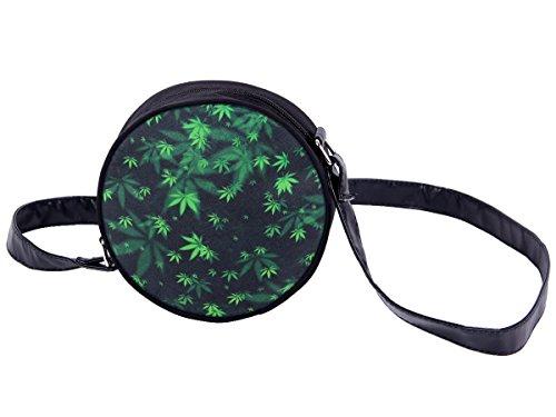 Borsa rotonda a tracolla con motivi divertenti. Borsetta con chiusura zip. Moderno lyfestyle trend zaino donne design, Tasche HT-01-36:HT-024 marijuana