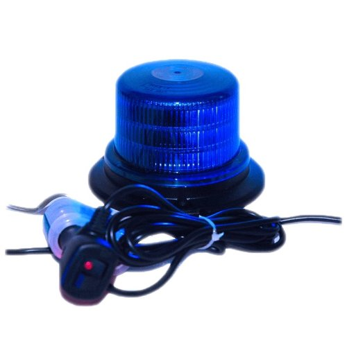 "Blue 4"" Led Beacon Strobe Rotating Spot Light Mount On Roof Of Vehicle Emergency Lighting"