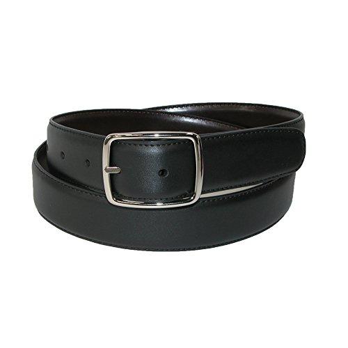 Aquarius Mens Big & Tall Leather Reversible Center Bar Dress Belt, 58, Black/Brown