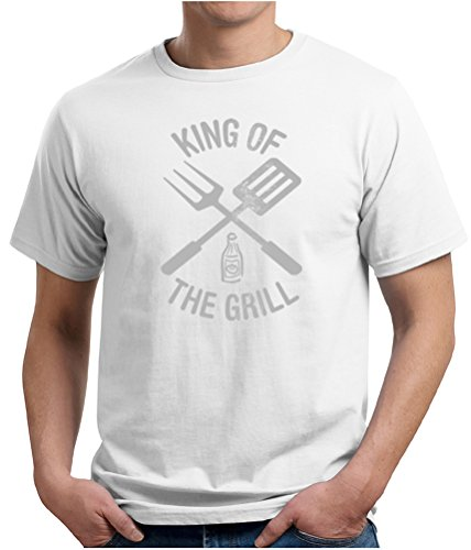 King Of The Grill Organic T-Shirt Barbecue Utensils Adult Tee Shirt, Small, White