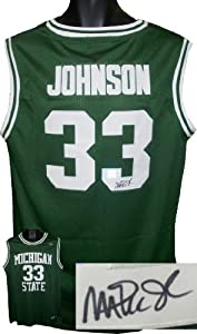 Magic Johnson signed Michigan State Spartans Green Authentic Headmaster Legends... by Athlon+Sports+Collectibles